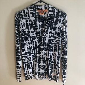 Tory Burch abstract print cardigan sweater